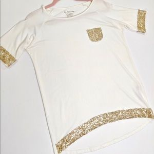 Chico's White Sequins Short Sleeve Top